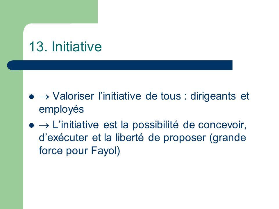 13. Initiative Valoriser linitiative de tous : dirigeants et employés Linitiative est la possibilité de concevoir, dexécuter et la liberté de proposer