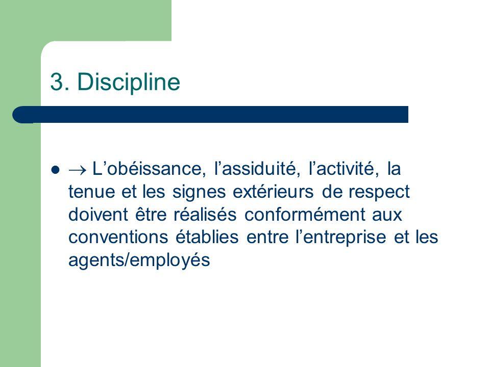 3. Discipline Lobéissance, lassiduité, lactivité, la tenue et les signes extérieurs de respect doivent être réalisés conformément aux conventions étab
