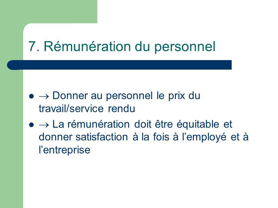 7. Rémunération du personnel Donner au personnel le prix du travail/service rendu La rémunération doit être équitable et donner satisfaction à la fois
