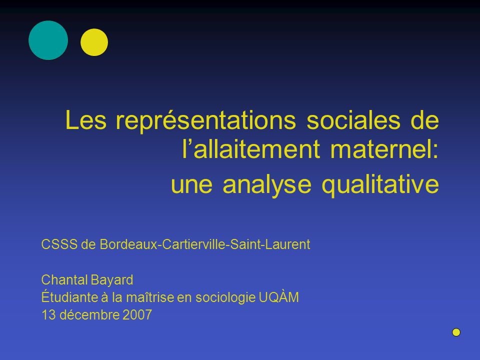 Les représentations sociales de lallaitement maternel: une analyse qualitative CSSS de Bordeaux-Cartierville-Saint-Laurent Chantal Bayard Étudiante à