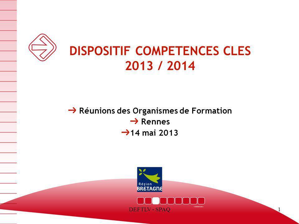 DEFTLV - SPAQ1 DISPOSITIF COMPETENCES CLES 2013 / 2014 Réunions des Organismes de Formation Rennes 14 mai 2013