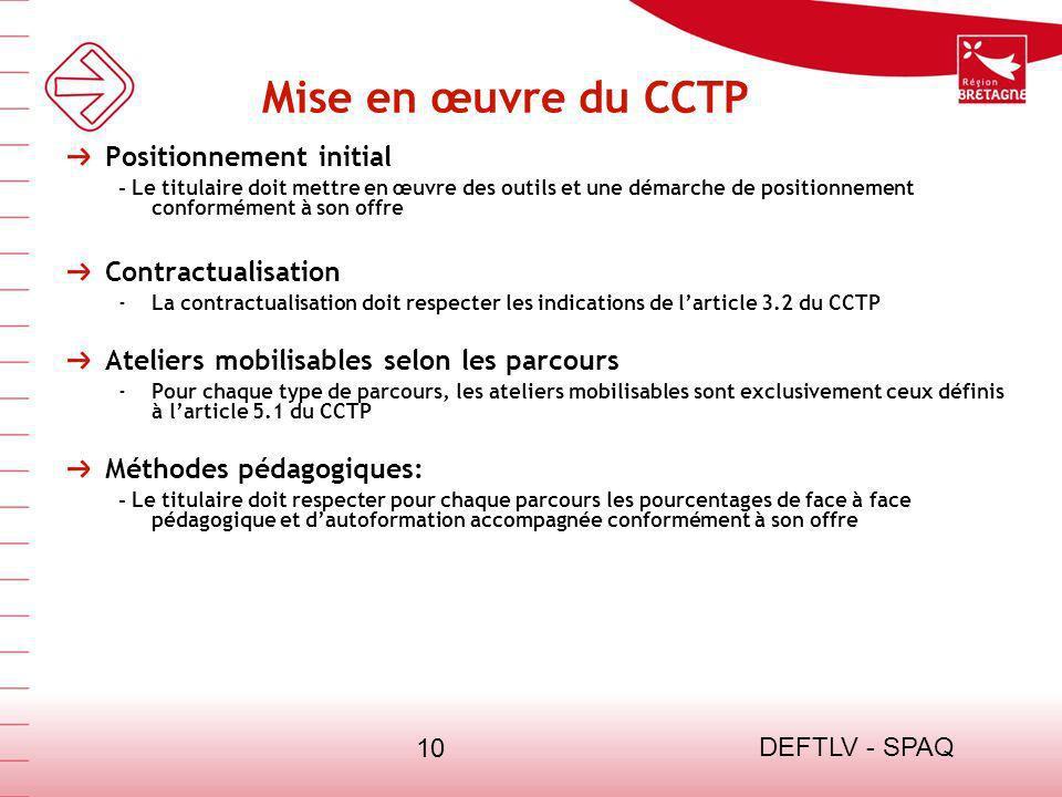 DEFTLV - SPAQ 10 Mise en œuvre du CCTP Positionnement initial - Le titulaire doit mettre en œuvre des outils et une démarche de positionnement conform