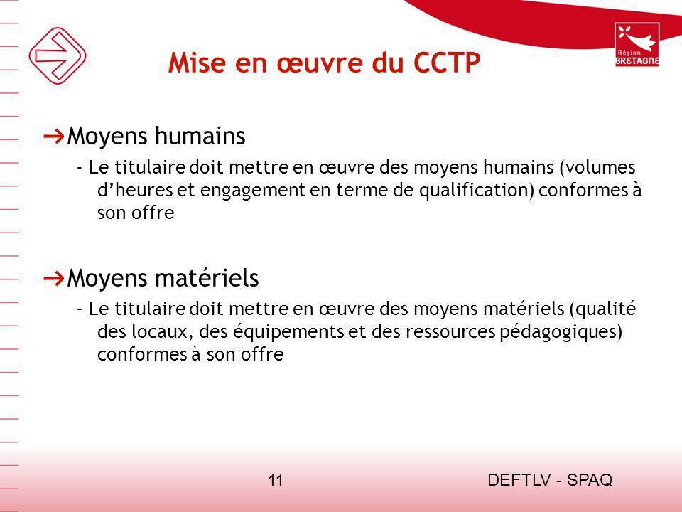 DEFTLV - SPAQ 11 Mise en œuvre du CCTP Moyens humains - Le titulaire doit mettre en œuvre des moyens humains (volumes dheures et engagement en terme d
