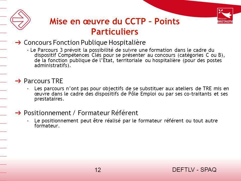 DEFTLV - SPAQ 12 Mise en œuvre du CCTP – Points Particuliers Concours Fonction Publique Hospitalière - Le Parcours 3 prévoit la possibilité de suivre