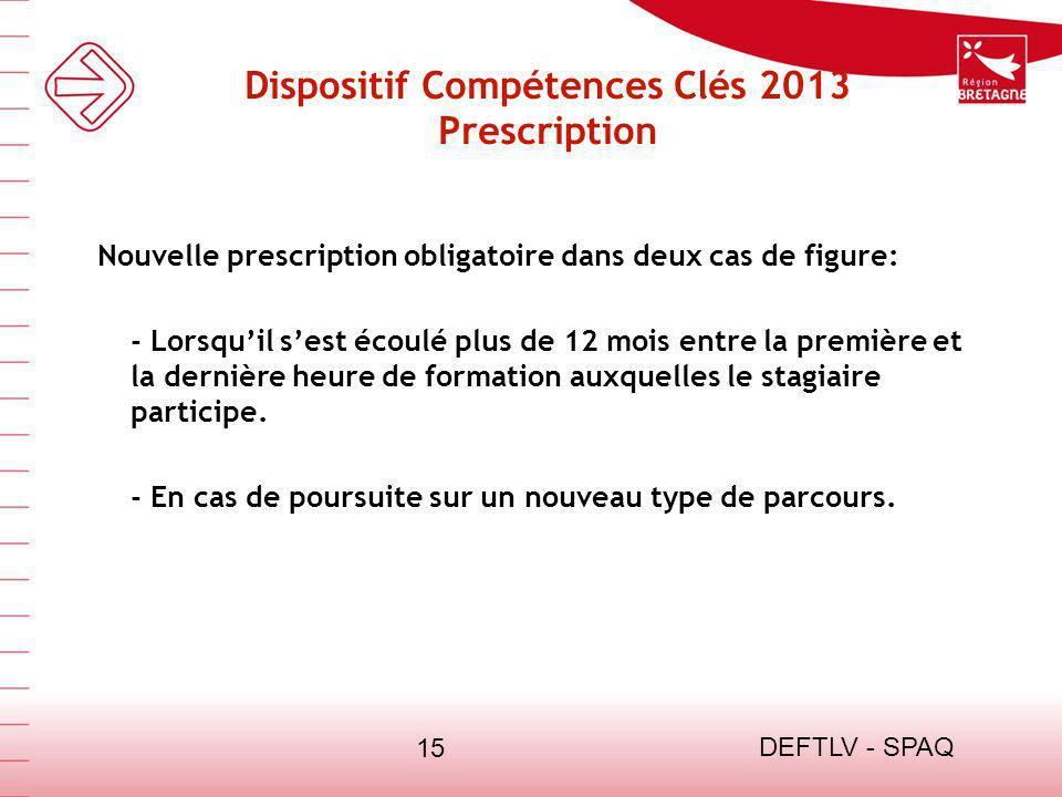 DEFTLV - SPAQ 15 Dispositif Compétences Clés 2013 Prescription Nouvelle prescription obligatoire dans deux cas de figure: - Lorsquil sest écoulé plus