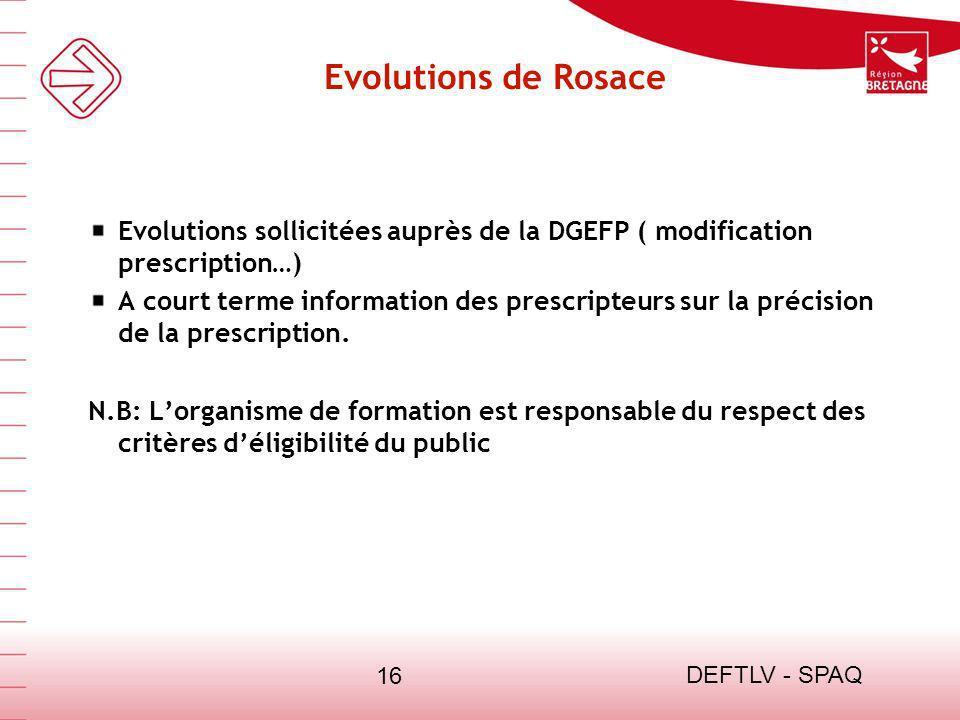 DEFTLV - SPAQ 16 Evolutions de Rosace Evolutions sollicitées auprès de la DGEFP ( modification prescription…) A court terme information des prescripte
