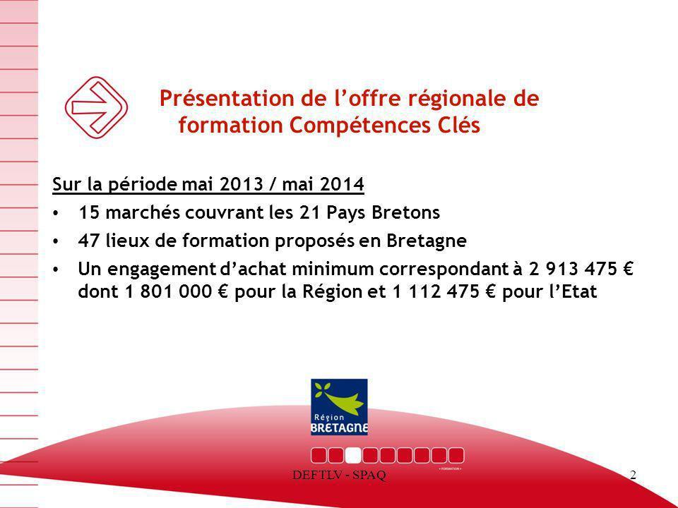 DEFTLV - SPAQ2 Présentation de loffre régionale de formation Compétences Clés Sur la période mai 2013 / mai 2014 15 marchés couvrant les 21 Pays Breto