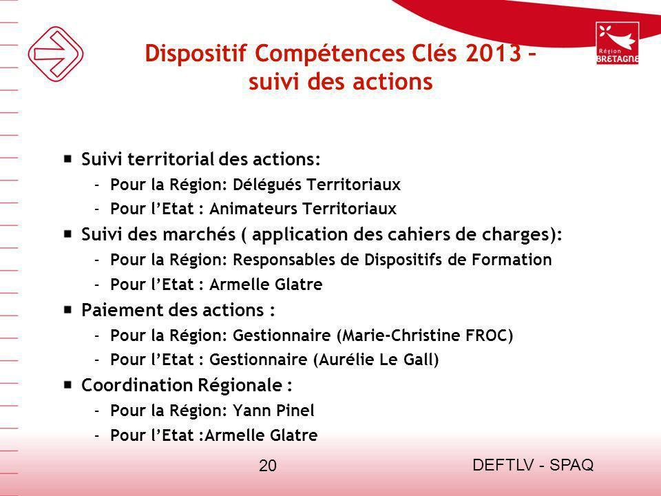 DEFTLV - SPAQ 20 Dispositif Compétences Clés 2013 – suivi des actions Suivi territorial des actions: - Pour la Région: Délégués Territoriaux - Pour lE