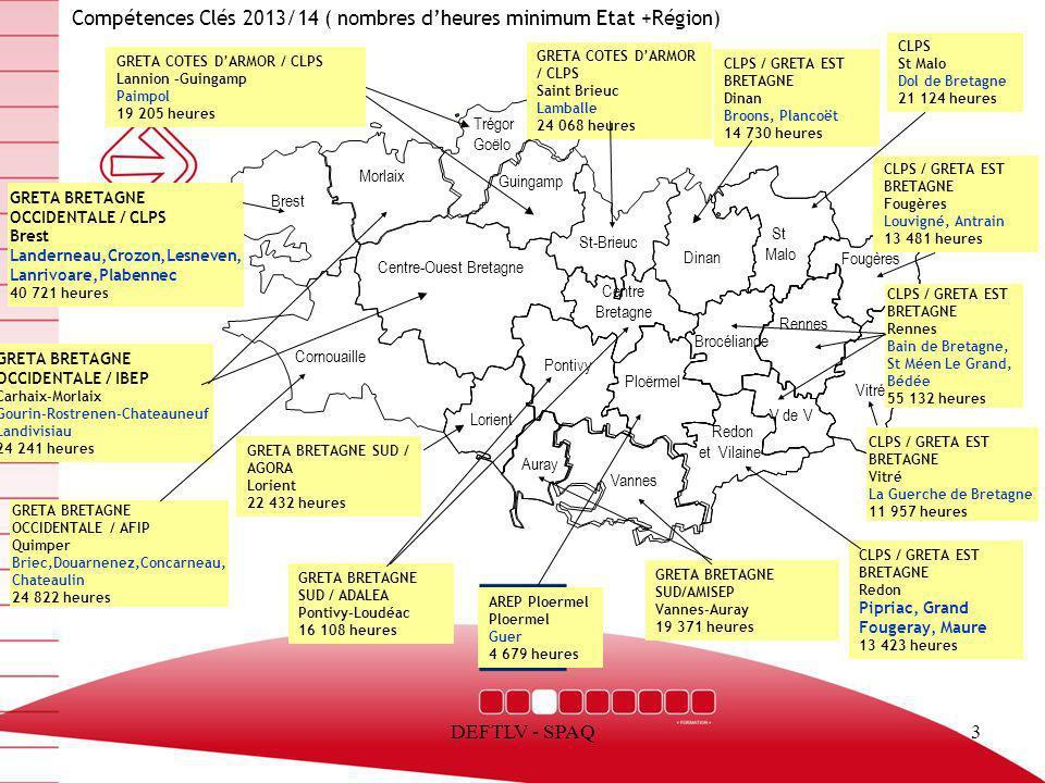 DEFTLV - SPAQ3 Compétences Clés 2013/14 ( nombres dheures minimum Etat +Région) Trégor Goëlo Brest Centre-Ouest Bretagne Redon et Vilaine Vitré Fougèr