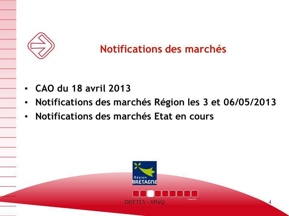 DEFTLV - SPAQ4 Notifications des marchés CAO du 18 avril 2013 Notifications des marchés Région les 3 et 06/05/2013 Notifications des marchés Etat en c