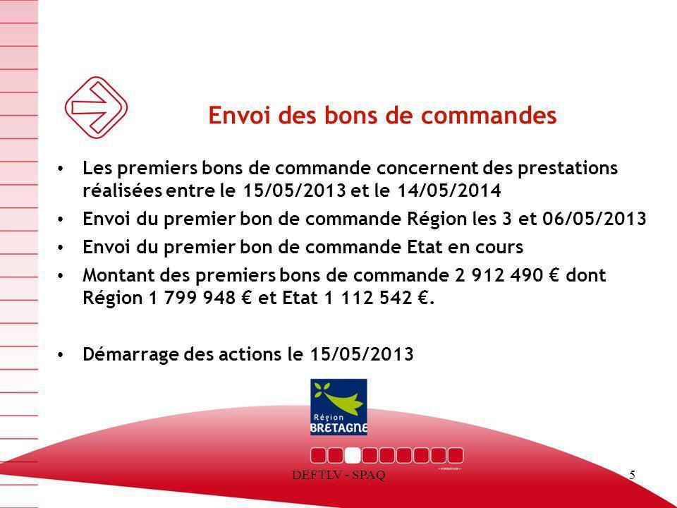DEFTLV - SPAQ5 Envoi des bons de commandes Les premiers bons de commande concernent des prestations réalisées entre le 15/05/2013 et le 14/05/2014 Env