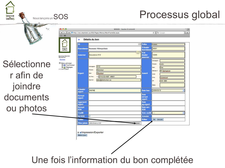 Processus global Nous lançons un SOS Une fois linformation du bon complétée Sélectionne r afin de joindre documents ou photos