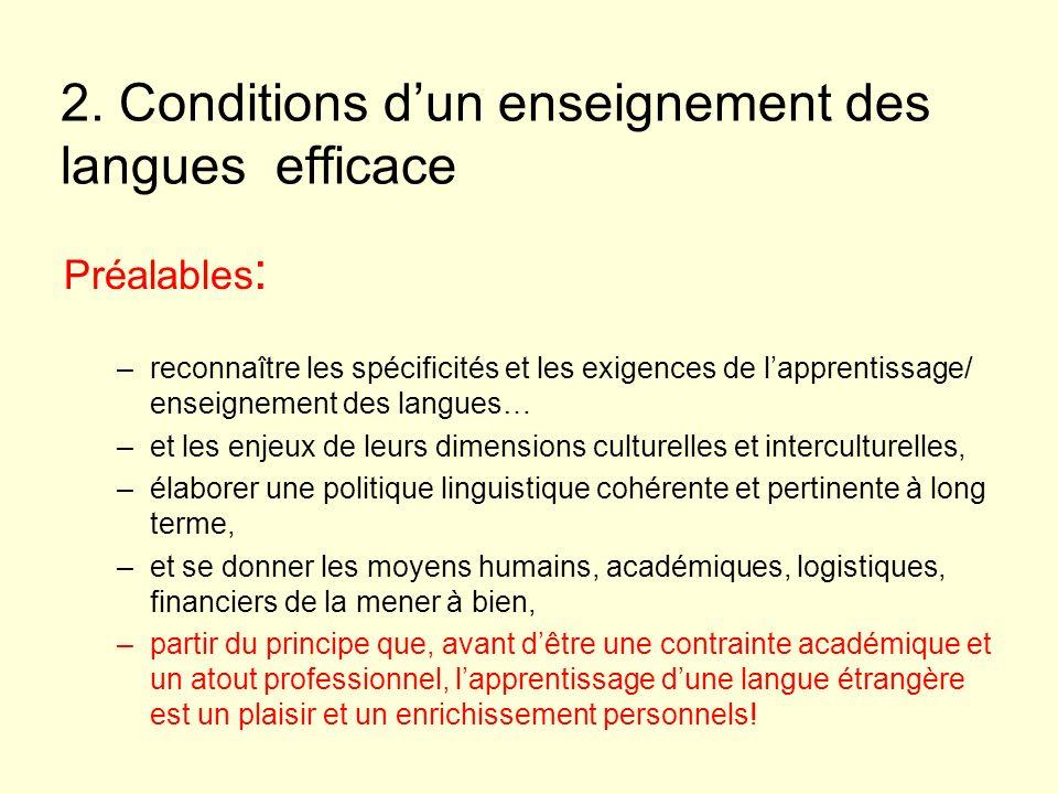 2. Conditions dun enseignement des langues efficace Préalables : –reconnaître les spécificités et les exigences de lapprentissage/ enseignement des la