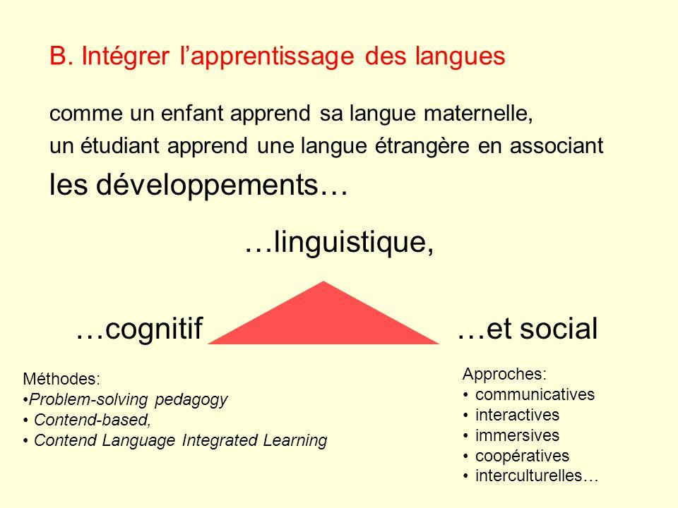 B. Intégrer lapprentissage des langues comme un enfant apprend sa langue maternelle, un étudiant apprend une langue étrangère en associant les dévelop