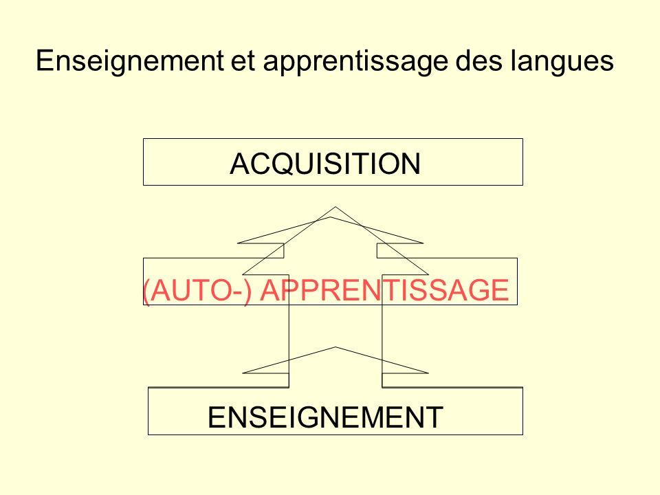 ACQUISITION (AUTO-) APPRENTISSAGE ENSEIGNEMENT Enseignement et apprentissage des langues