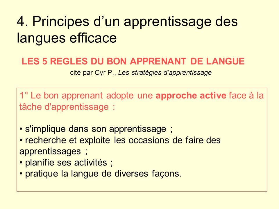 LES 5 REGLES DU BON APPRENANT DE LANGUE cité par Cyr P., Les stratégies dapprentissage 1° Le bon apprenant adopte une approche active face à la tâche