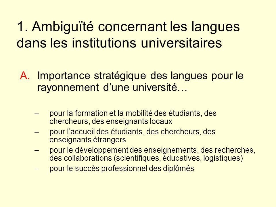 1. Ambiguïté concernant les langues dans les institutions universitaires A.Importance stratégique des langues pour le rayonnement dune université… –po