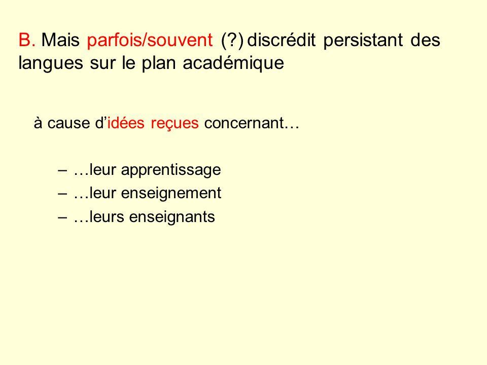 à cause didées reçues concernant… –…leur apprentissage –…leur enseignement –…leurs enseignants B. Mais parfois/souvent (?) discrédit persistant des la