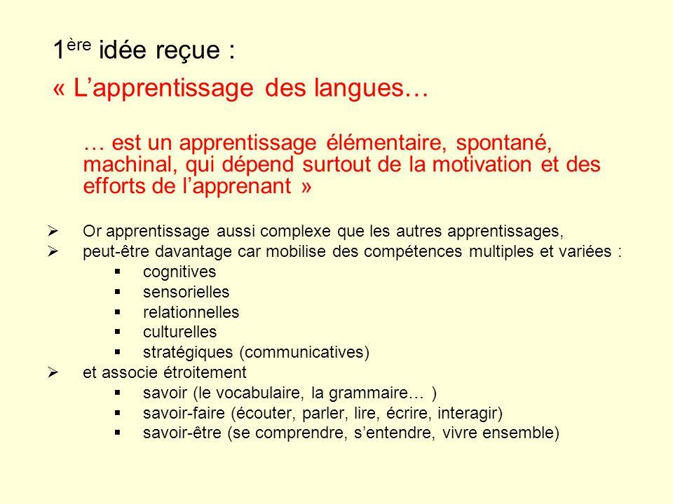 … est un apprentissage élémentaire, spontané, machinal, qui dépend surtout de la motivation et des efforts de lapprenant » Or apprentissage aussi comp