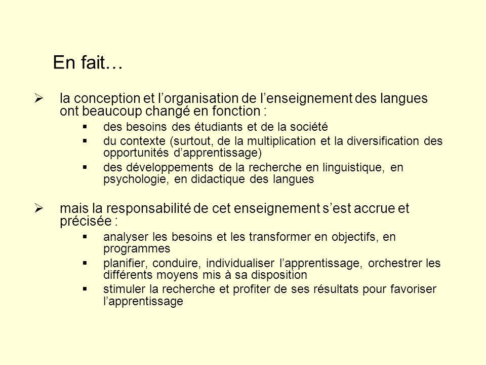 la conception et lorganisation de lenseignement des langues ont beaucoup changé en fonction : des besoins des étudiants et de la société du contexte (