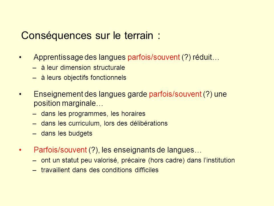 Apprentissage des langues parfois/souvent (?) réduit… –à leur dimension structurale –à leurs objectifs fonctionnels Enseignement des langues garde par