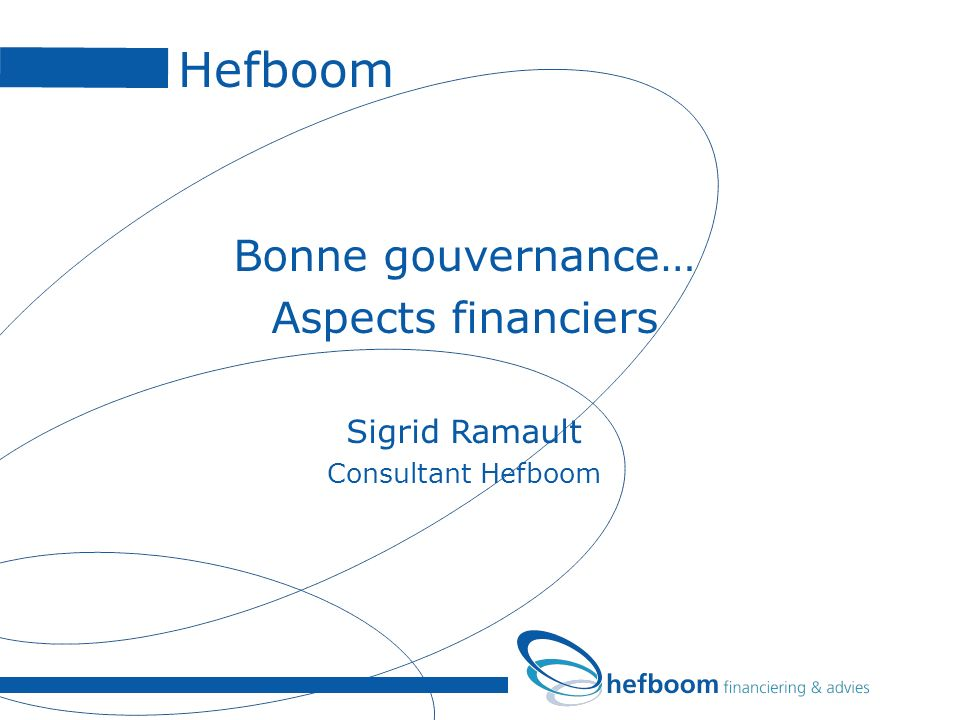 Hefboom Bonne gouvernance… Aspects financiers Sigrid Ramault Consultant Hefboom