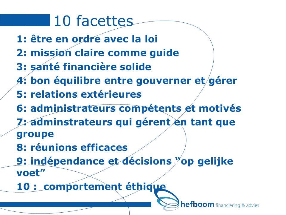 10 facettes 1: être en ordre avec la loi 2: mission claire comme guide 3: santé financière solide 4: bon équilibre entre gouverner et gérer 5: relatio