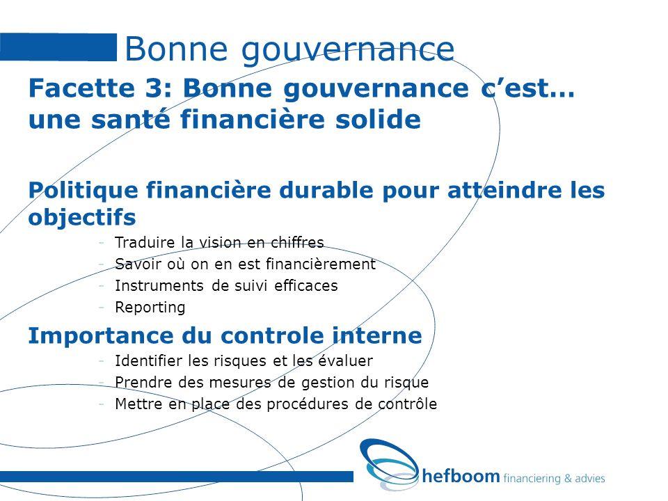 Bonne gouvernance Facette 3: Bonne gouvernance cest… une santé financière solide Politique financière durable pour atteindre les objectifs -Traduire l