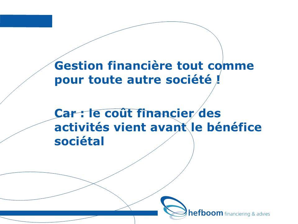 Gestion financière tout comme pour toute autre société ! Car : le coût financier des activités vient avant le bénéfice sociétal