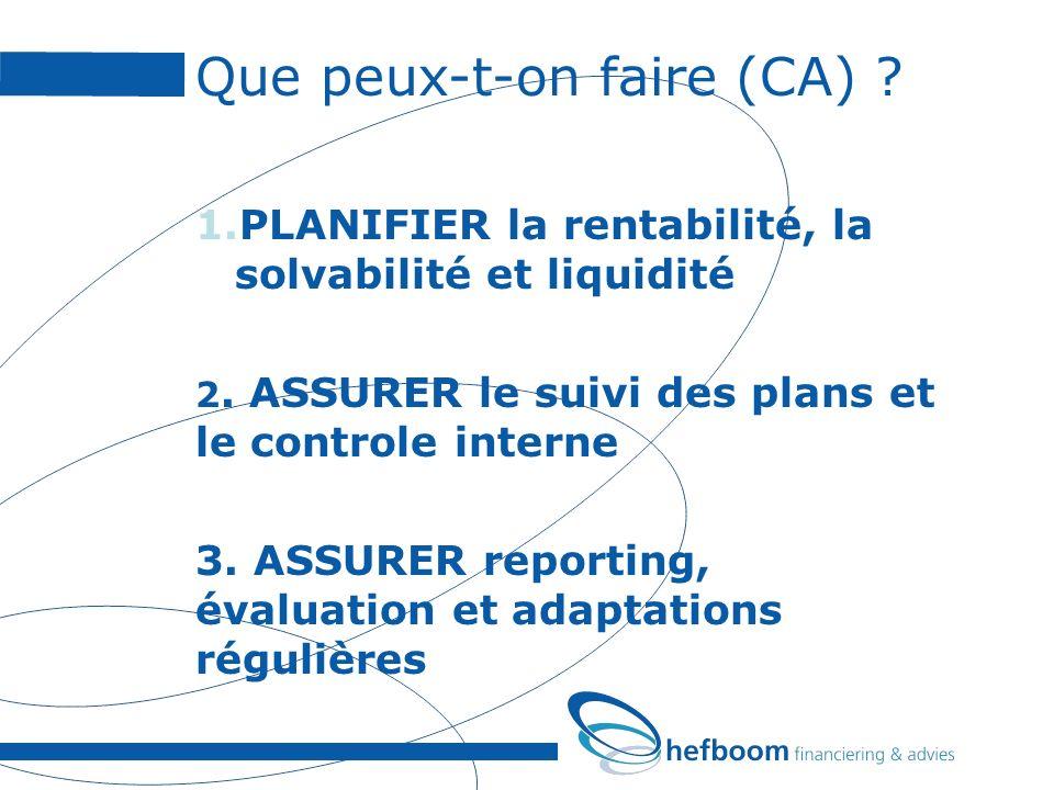 Que peux-t-on faire (CA) ? 1.PLANIFIER la rentabilité, la solvabilité et liquidité 2. ASSURER le suivi des plans et le controle interne 3. ASSURER rep