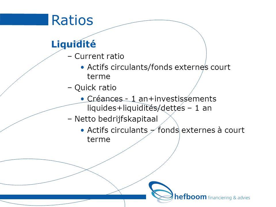 Ratios Liquidité –Current ratio Actifs circulants/fonds externes court terme –Quick ratio Créances - 1 an+investissements liquides+liquidités/dettes –