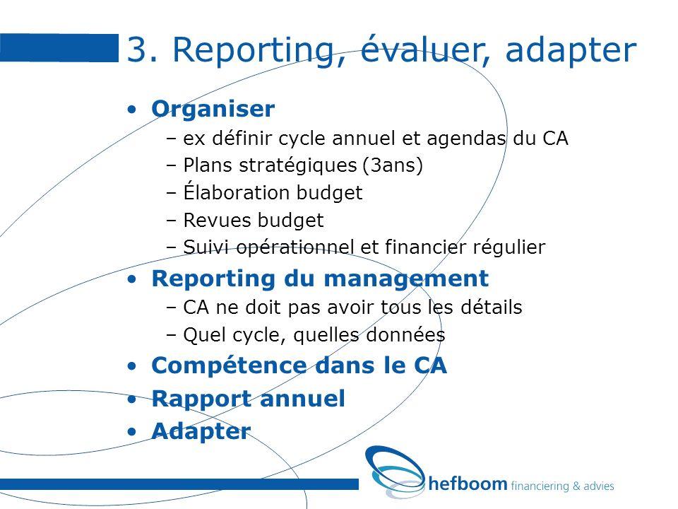 3. Reporting, évaluer, adapter Organiser –ex définir cycle annuel et agendas du CA –Plans stratégiques (3ans) –Élaboration budget –Revues budget –Suiv