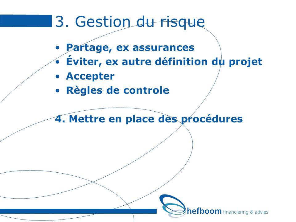 3. Gestion du risque Partage, ex assurances Éviter, ex autre définition du projet Accepter Règles de controle 4. Mettre en place des procédures