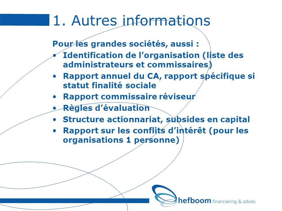 1. Autres informations Pour les grandes sociétés, aussi : Identification de lorganisation (liste des administrateurs et commissaires) Rapport annuel d