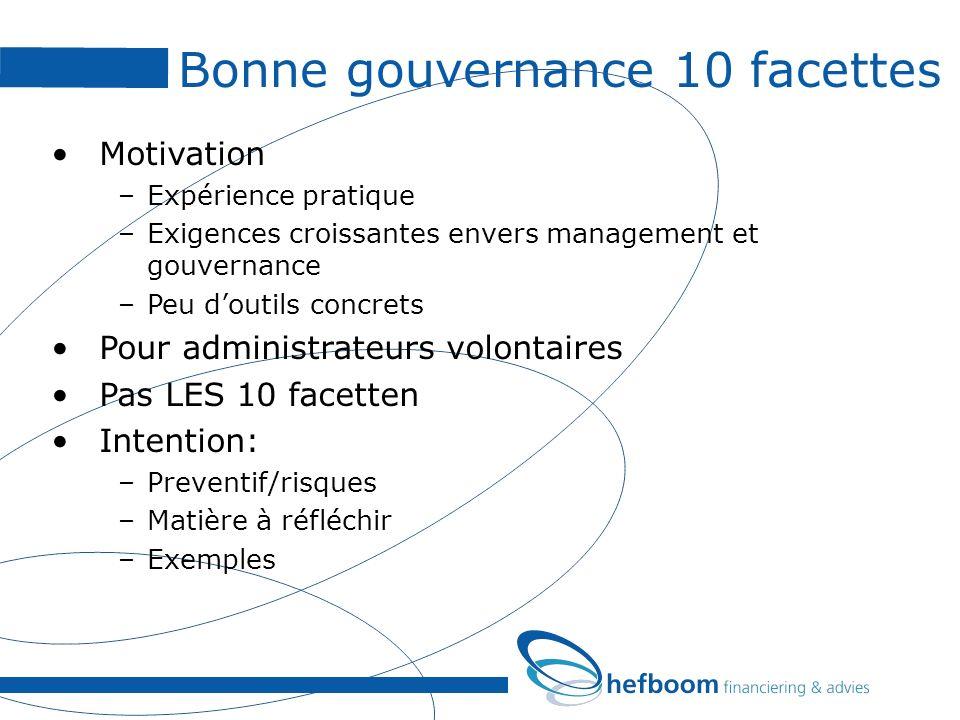 Bonne gouvernance 10 facettes Motivation –Expérience pratique –Exigences croissantes envers management et gouvernance –Peu doutils concrets Pour admin