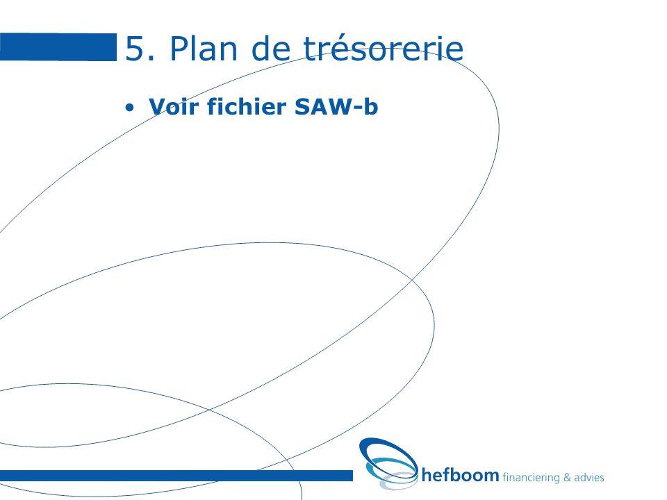 5. Plan de trésorerie Voir fichier SAW-b