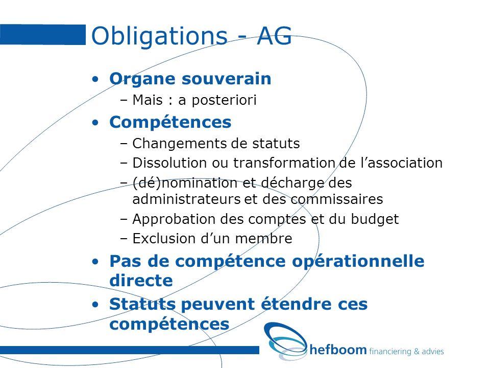 Obligations - AG Organe souverain –Mais : a posteriori Compétences –Changements de statuts –Dissolution ou transformation de lassociation –(dé)nominat