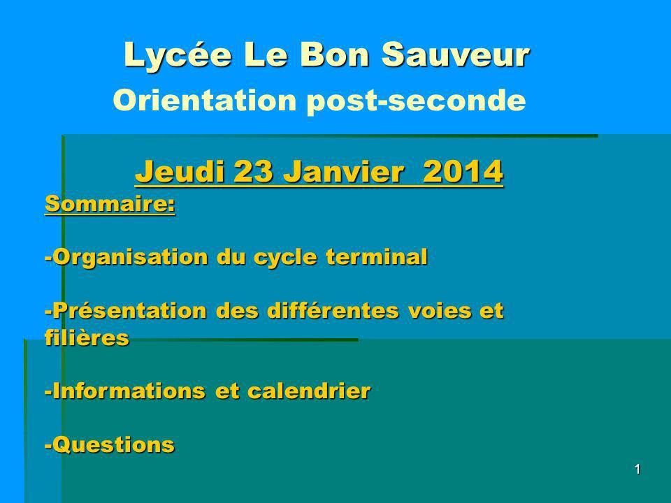 1 Lycée Le Bon Sauveur Orientation post-seconde Jeudi 23 Janvier 2014 Sommaire: -Organisation du cycle terminal -Présentation des différentes voies et