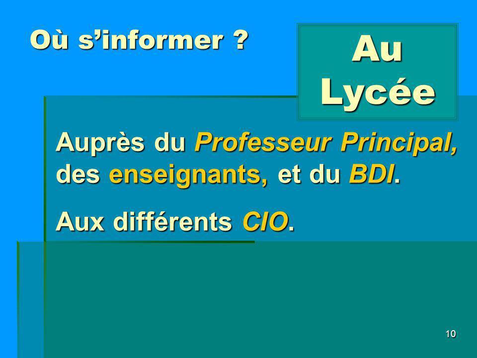10 Où sinformer ? Au Lycée Auprès du Professeur Principal, des enseignants, et du BDI. Aux différents CIO.