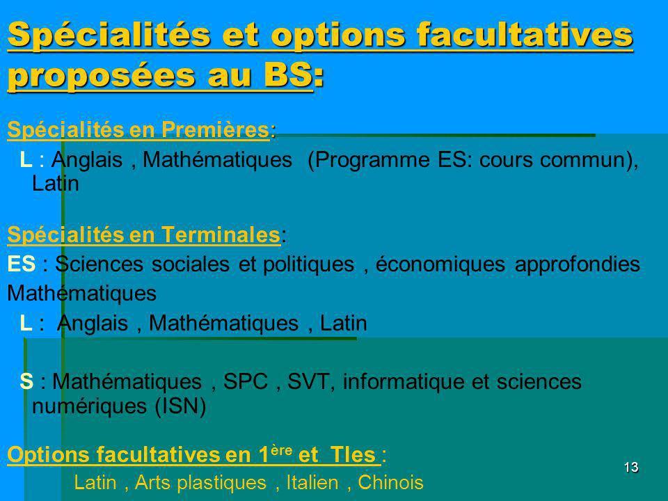 13 Spécialités et options facultatives proposées au BS: : Spécialités en Premières: L : Anglais, Mathématiques (Programme ES: cours commun), Latin Spé