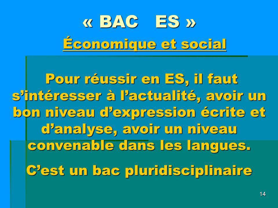 14 « BAC ES » Pour réussir en ES, il faut sintéresser à lactualité, avoir un bon niveau dexpression écrite et danalyse, avoir un niveau convenable dan