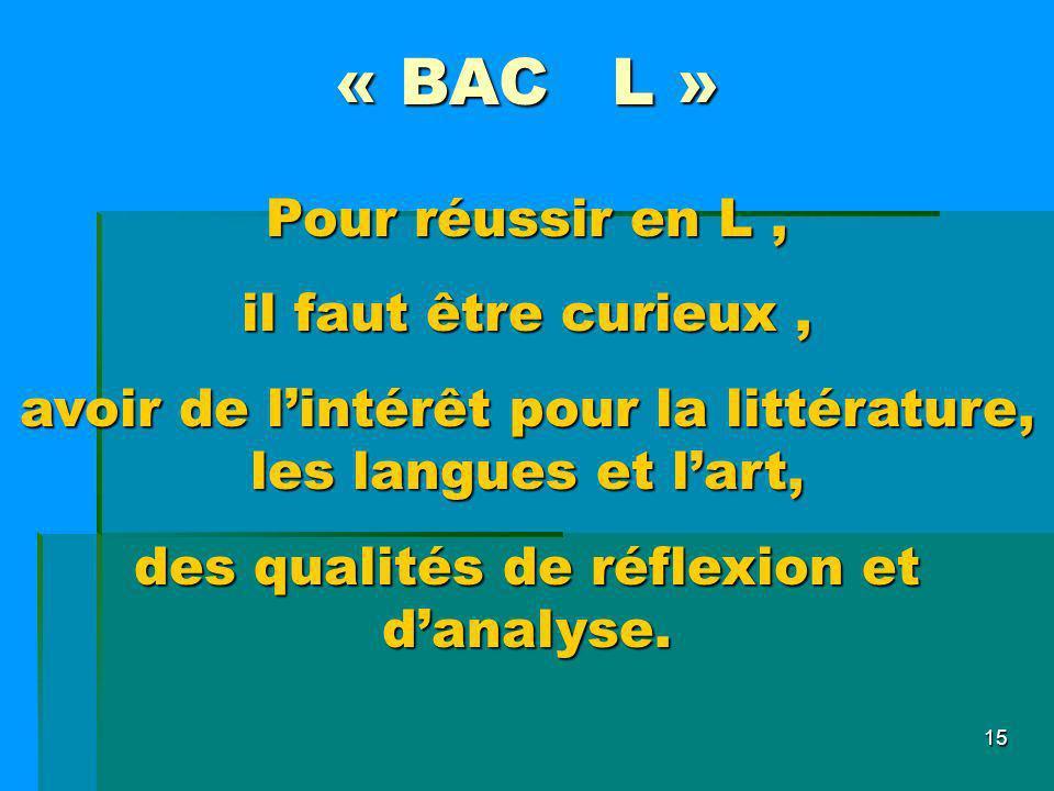 15 « BAC L » Pour réussir en L, il faut être curieux, avoir de lintérêt pour la littérature, les langues et lart, des qualités de réflexion et danalys