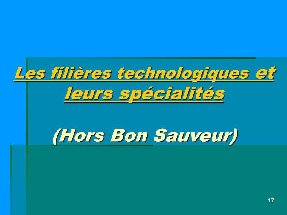17 Les filières technologiques et leurs spécialités (Hors Bon Sauveur)