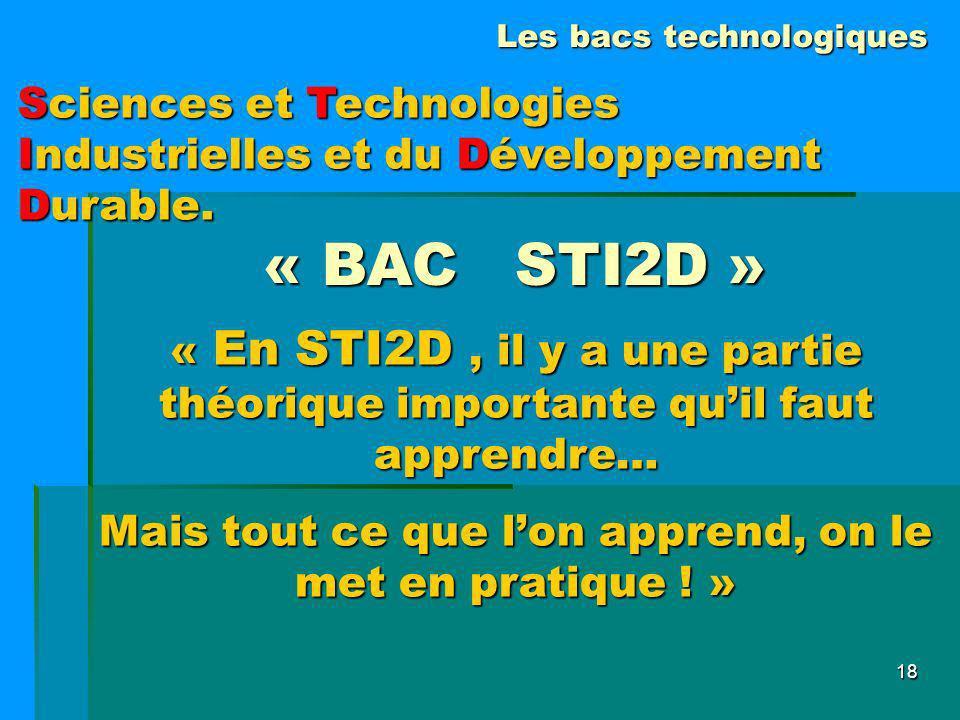 18 « BAC STI2D » « En STI2D, il y a une partie théorique importante quil faut apprendre… Mais tout ce que lon apprend, on le met en pratique ! » Scien