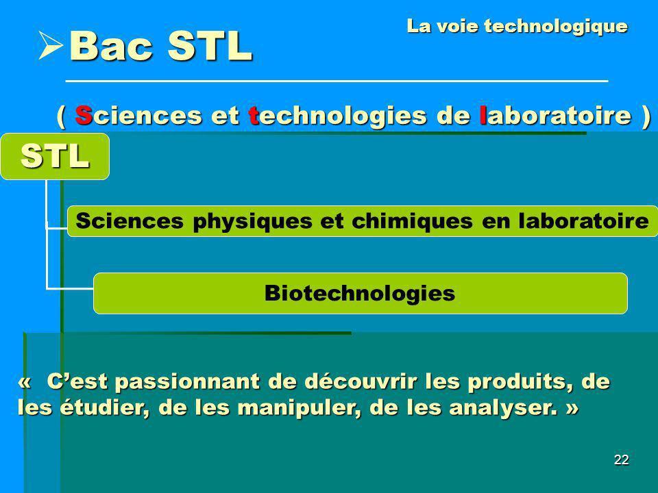 22 STL Sciences physiques et chimiques en laboratoire Biotechnologies La voie technologique Bac STL ( Sciences et technologies de laboratoire ) « Cest