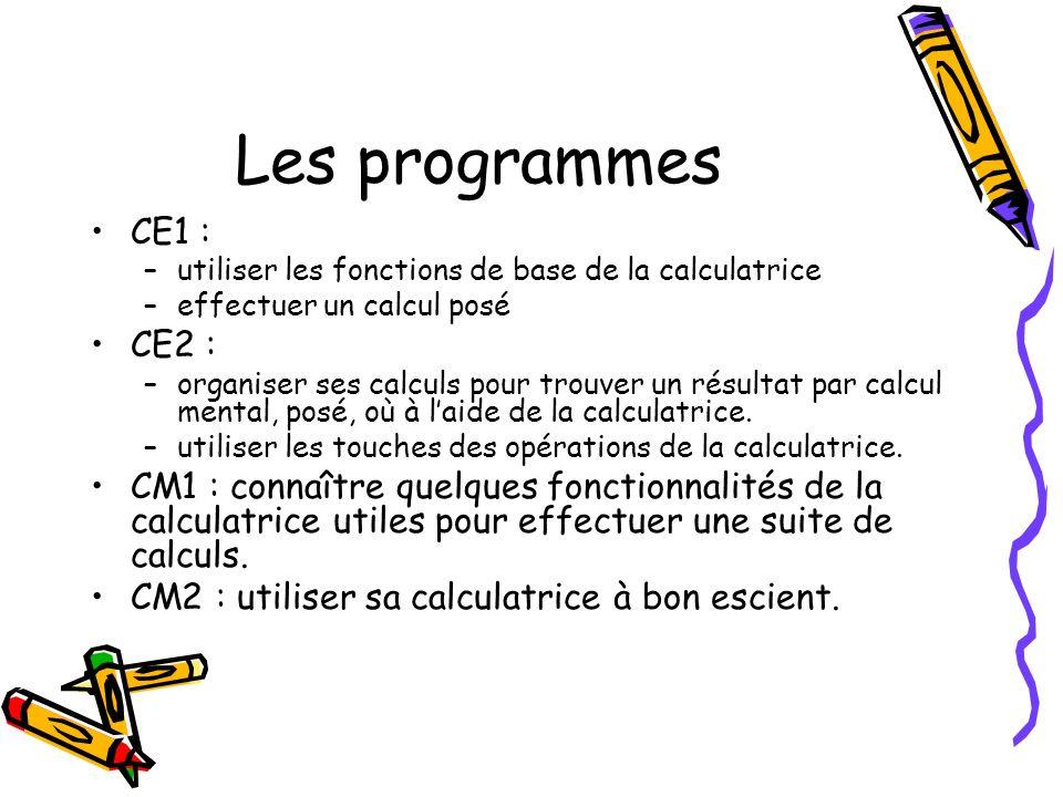 Les programmes CE1 : –utiliser les fonctions de base de la calculatrice –effectuer un calcul posé CE2 : –organiser ses calculs pour trouver un résultat par calcul mental, posé, où à laide de la calculatrice.