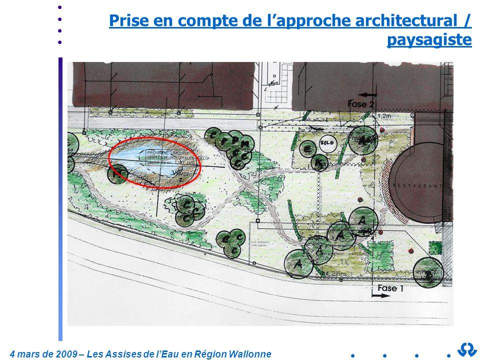 4 mars de 2009 – Les Assises de lEau en Région Wallonne Prise en compte de lapproche architectural / paysagiste