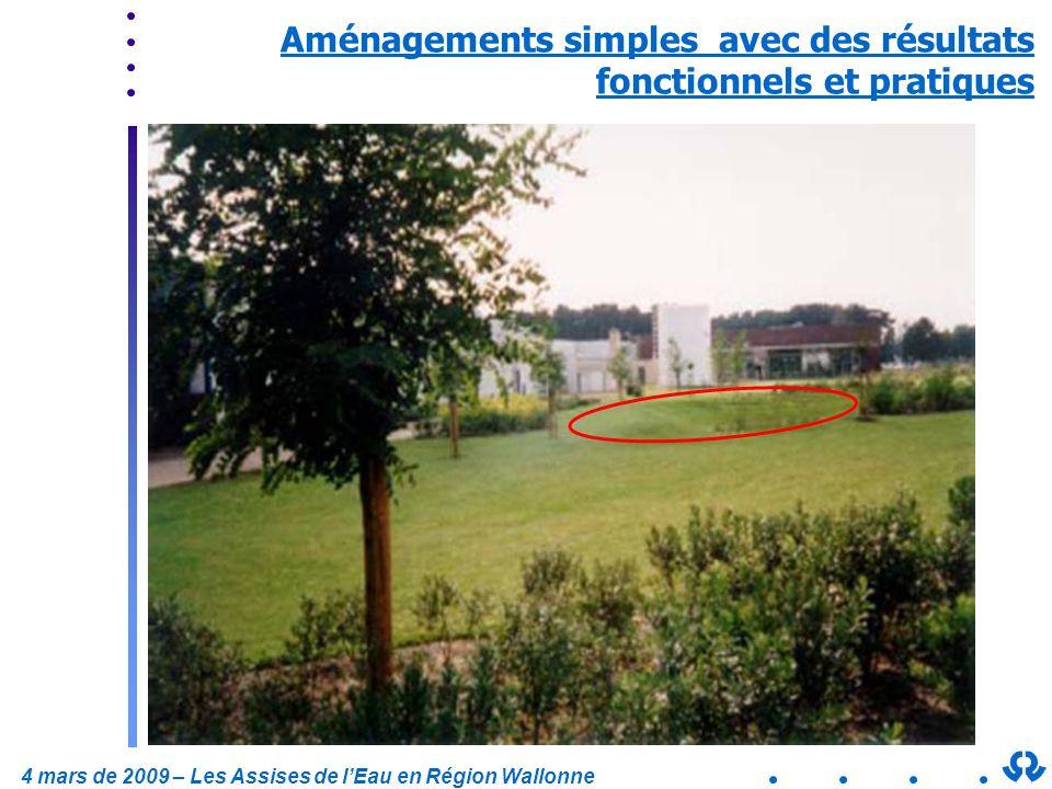 4 mars de 2009 – Les Assises de lEau en Région Wallonne Aménagements simples avec des résultats fonctionnels et pratiques
