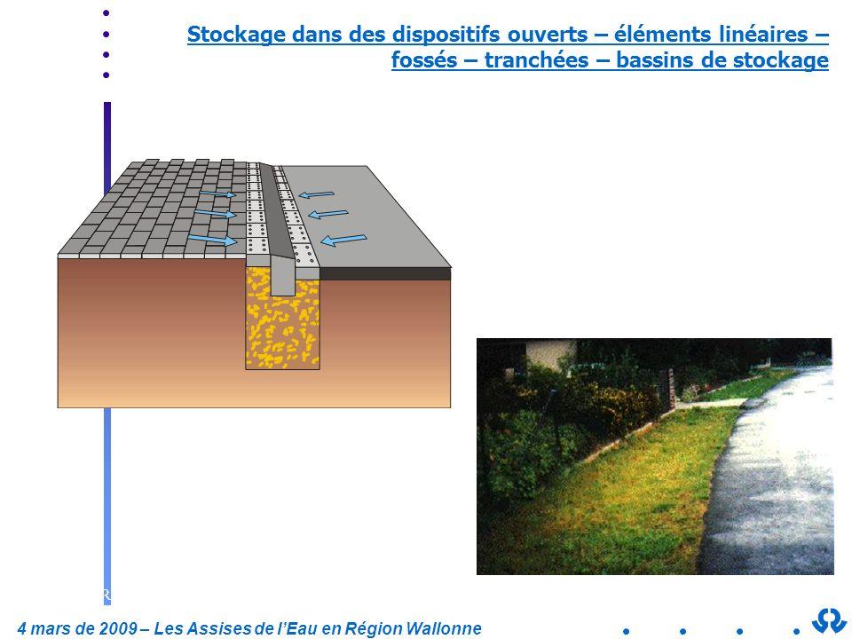 4 mars de 2009 – Les Assises de lEau en Région Wallonne Stockage dans des dispositifs ouverts – éléments linéaires – fossés – tranchées – bassins de s