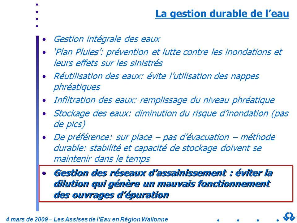4 mars de 2009 – Les Assises de lEau en Région Wallonne La gestion durable de leau Gestion intégrale des eaux Plan Pluies: prévention et lutte contre